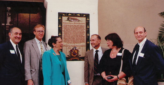 Robert Erburu, Eric Hvolboll, Elizabeth Hvolboll, Michael Haines Tracy Orella, and Ricardo Pérez-Rasilla at Plaque dedication, July, 1990